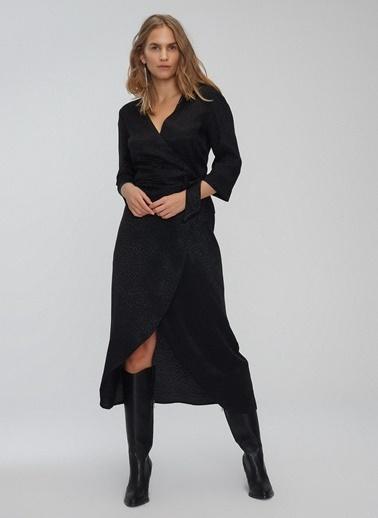 People By Fabrika Jakarlı Kruvaze Bağlamalı Elbise Siyah